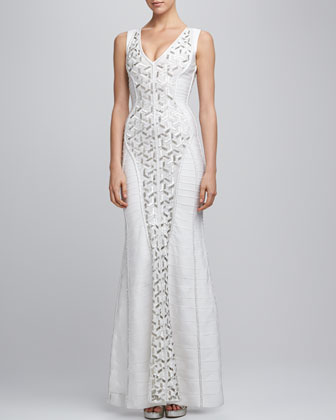 Beaded Sequined Bandage Gown