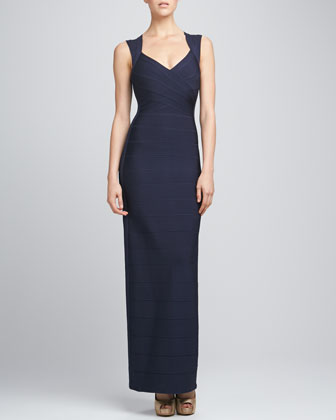 Bandage-Trim Shrug & V-Neck Bandage Gown, Pacific Blue