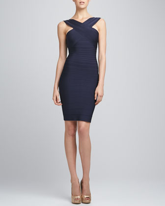 Cut-In Bandage Dress, Pacific Blue