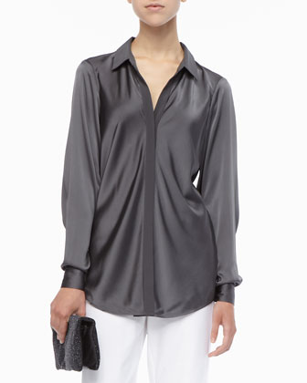 Silk Long-Sleeve Shirt, Modern Wide-Leg Pants & Galaxy Textured Leather Clutch