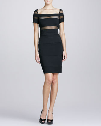 Illusion-Cutout Square-Neck Cocktail Dress