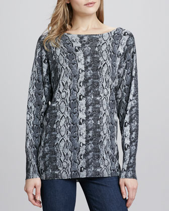 Moli Long-Sleeve Knit Jacket & Cienna Python-Print Sweater