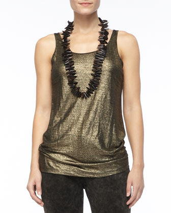 Sleeveless Long Shimmery Tank, Petite