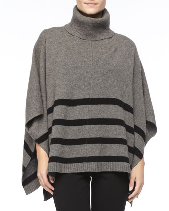 Wool Striped Turtleneck Poncho, Petite