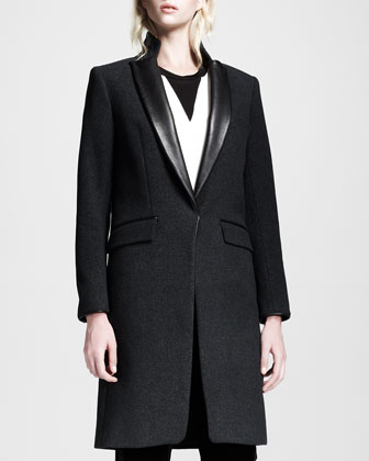 Rosenburg Leather-Lapel Coat