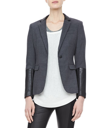 Timeless Leather-Sleeve Blazer