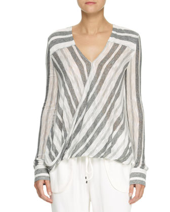 Striped Drape-Front Blouse