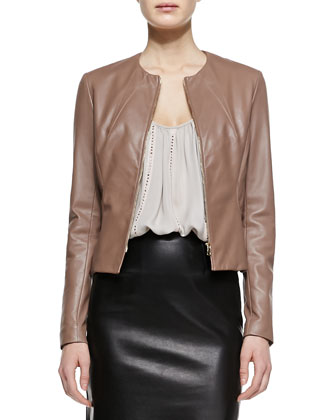 Collarless Fitted Leather Jacket, Nailhead-Stripe Silk Camisole & ...
