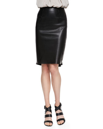 Flutter-Hem Leather Skirt