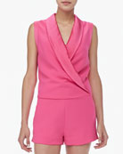 Satin-Collar Sleeveless Jumpsuit