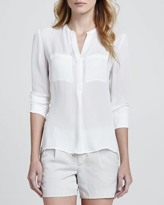 Silk Welt Pocket Blouse