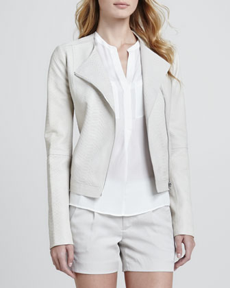Snake-Embossed Leather Jacket, Silk Welt Pocket Blouse & Silk Tipped ...
