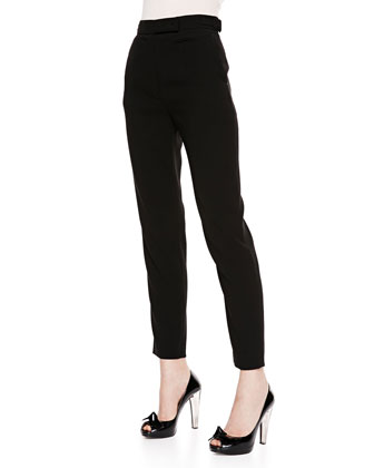 Knot-Shoulder Bicolor Blouse & Cropped Trouser Pants