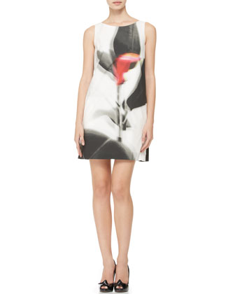 Three-Quarter-Sleeve Abstract-Print Coat & Sleeveless Abstract-Print Shift ...