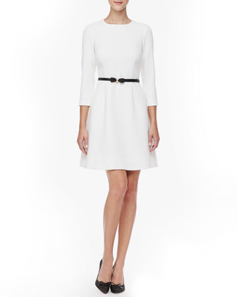 keegan 3/4-sleeve dress, cream