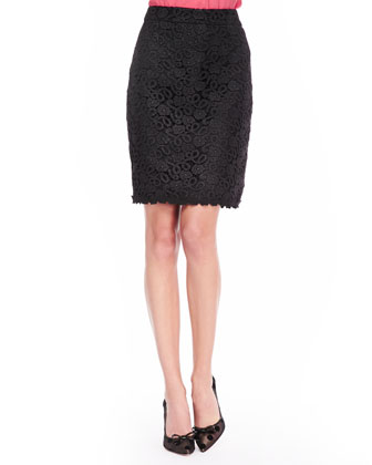 judy lace pencil skirt, black
