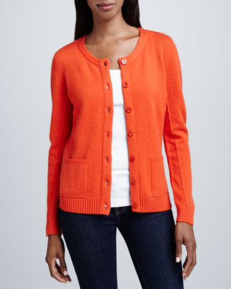 Cashmere Button-Front Cardigan