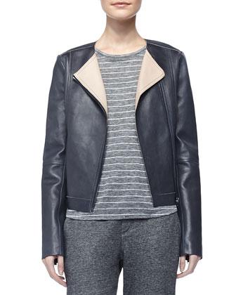 Lamb Leather Zip Jacket