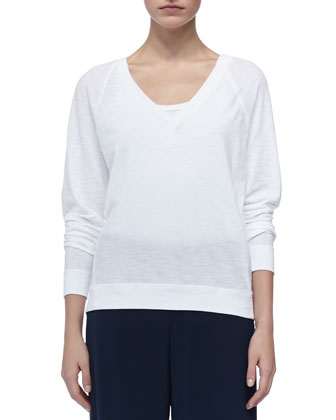 Longsleeve V-Neck Tee, White, Hooded Short Anorak & Longsleeve V-Neck Tee, ...