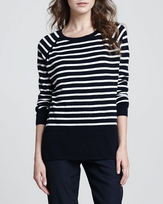 Striped Relaxed Cashmere Sweater, Ribbed Favorite Tank & Straight-Leg ...