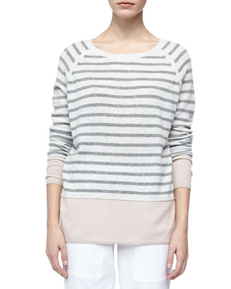 Colorblock Cashmere Sweater with Raglan Sleeves