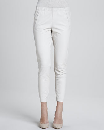 Perforated Leather Shell & Cropped Leather Pants