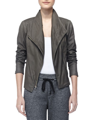 Paper Asymmetric Leather Jacket