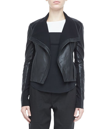Asymmetric Leather Motorcycle Jacket, Long-Sleeve Colorblock Tee & ...
