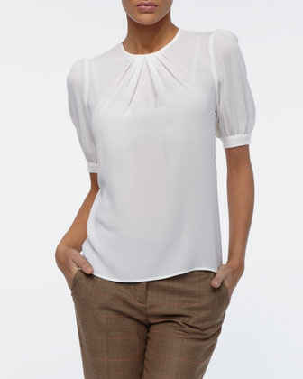 Silk Georgette Pleated-Neck Top