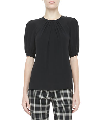 Silk Georgette Pleated-Neck Top, Black
