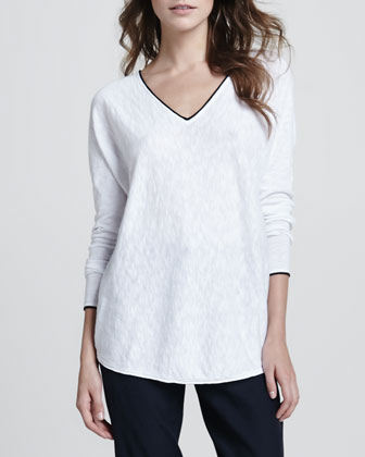 Ribbed V-Neck Sweater, Contrast-Trim Slub Top & Straight-Leg Cuffed Trousers