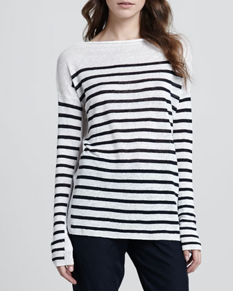 Striped Intarsia Sweater, White/Coastal