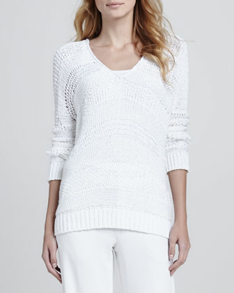Wide-Stitch V-Neck Sweater