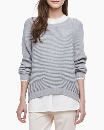 Two-Tone Silk Blouse, Ribbed Knit Raglan Sweater & Relaxed Twill Boyfriend ...