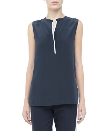 Silk Contrast Sleeveless Blouse