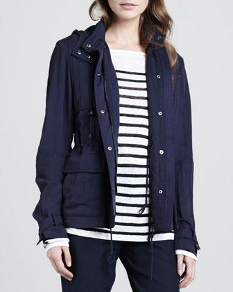 Striped Intarsia Sweater, Luxe Hooded Short Anorak & Straight-Leg Cuffed ...