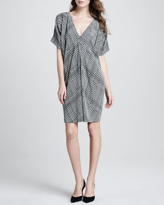 Printed V-Neck Silk Dress
