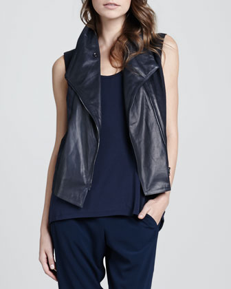 Leather Asymmetric Vest, Loose Arched-Hem Tank & Jersey Cropped Pants