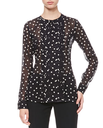 Dotted Pleat-Front Blouse