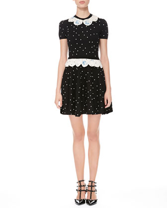 Rose-Scalloped Polka Dot Dress