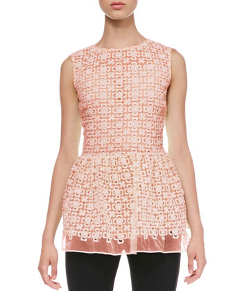 Lace Organza Peplum Top