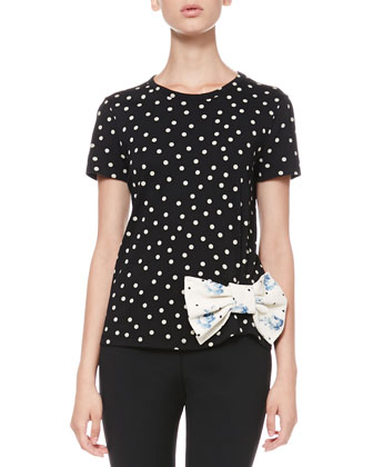 Dotted Bow-Waist Tee and Tech Cady Skinny Pants
