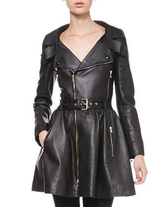Exposed-Zip Leather Trenchcoat