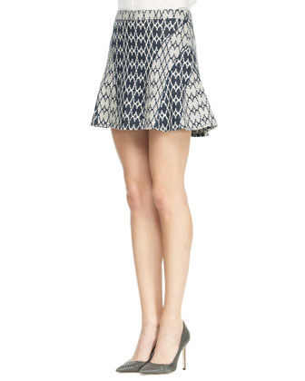 Flared Jacquard Short Skirt