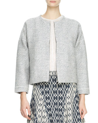 Rounded Tweed Jacket, Pocket Tee & Flared Jacquard Skirt