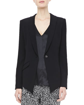 Asymmetric-Hem Blazer, Mesh-Back Top & Printed Track Pants