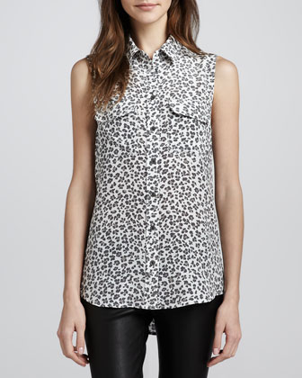 Signature Leopard-Print Sleeveless Blouse
