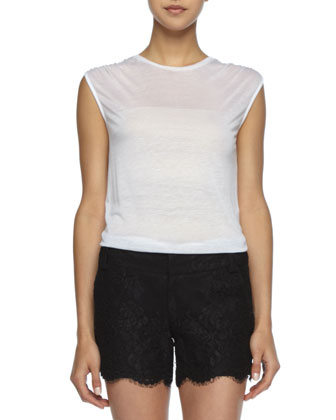 Sleeveless Slub Tee & Printed Smock-Waist Shorts