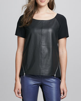 Alma Leather/Ponte Zip Top