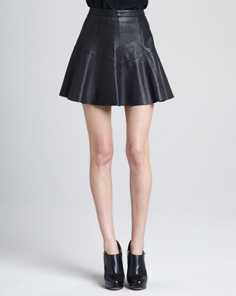 Ibiza A-Line Leather Skirt